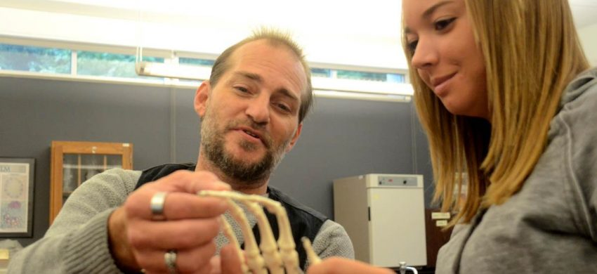 Professor Jeff Hucko and Ashley Millard looking at skeleton of a hand replica.