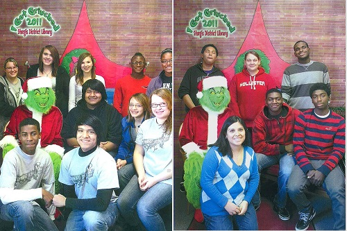 Upward Bounders posing in front of Christmas backdrop and The Grinch mascot.