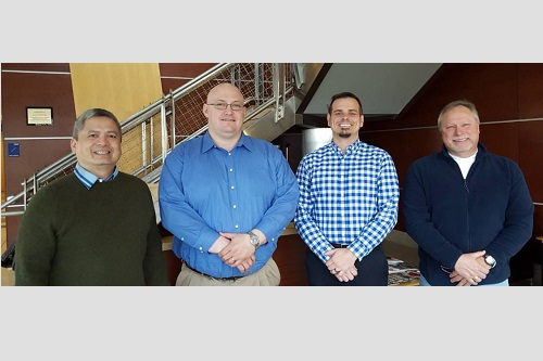 From left to right, Eric Gatmaitan, Applied IE, Scott Cubberly, Michigan Works! Southwest, Eric Stewert,Michigan Works! SW, and Paul Aivars, Glen Oaks Community College