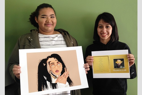 CTE Graphic Design students Crystal and Monica