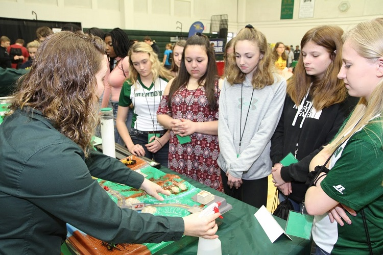 Students learn about agricultural drainage and erosion as part of the MSU Agricultural Operations partnership program.