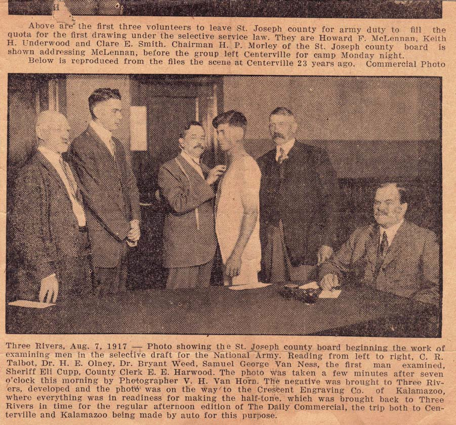 1917 newspaper clipping from showing a group of doctors checking out a patient, includes Dr. Onley.