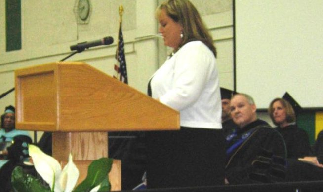 Hope Bailey, RN, the Chief Clinical Officer at Three Rivers Health during the 2011 Commencement.