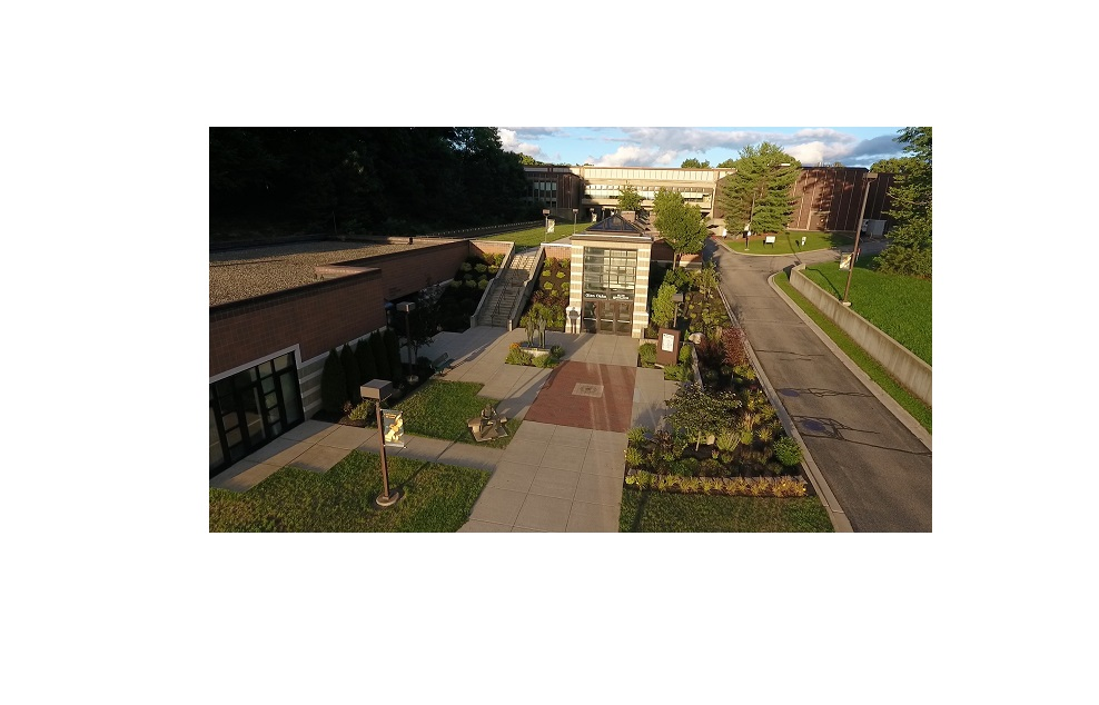 Drone photo of campus entrance