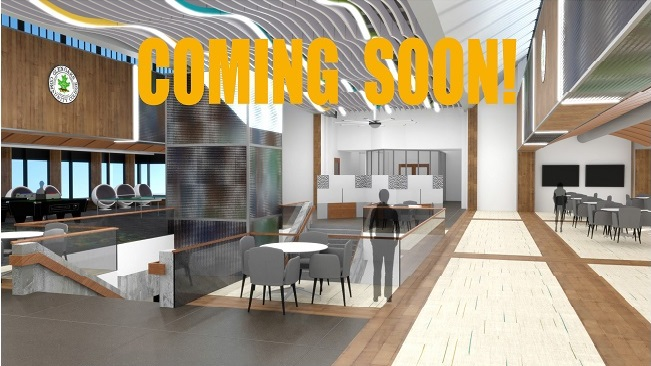 Architect rendition of new concourse with text Coming Soon