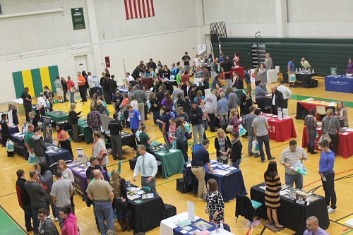 View of all booths and attendees at 2016 Job Fair.