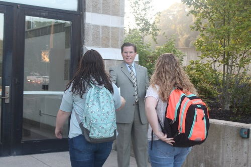 Glen Oaks President David Devier welcomed students to the campus on the first day of fall semester classes.