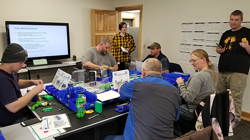 X-L Machine employees participate in a Kaizen simulation event