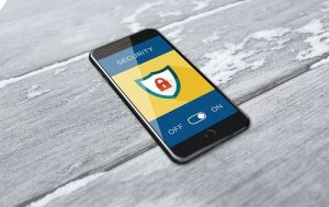 Cell phone with security app on screen