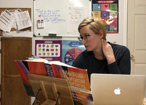 Katherine Wickey studies from home online