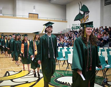 Glen Oaks grads marching in
